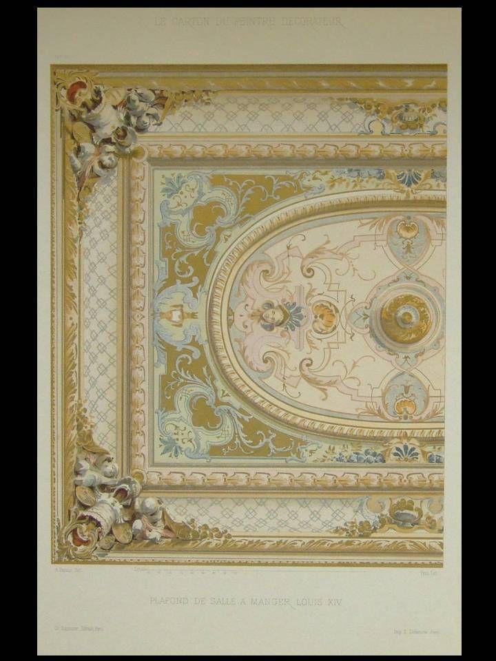 Plafond salle a manger louis xiv - 1900 - grande lithographie - salle a manger louis