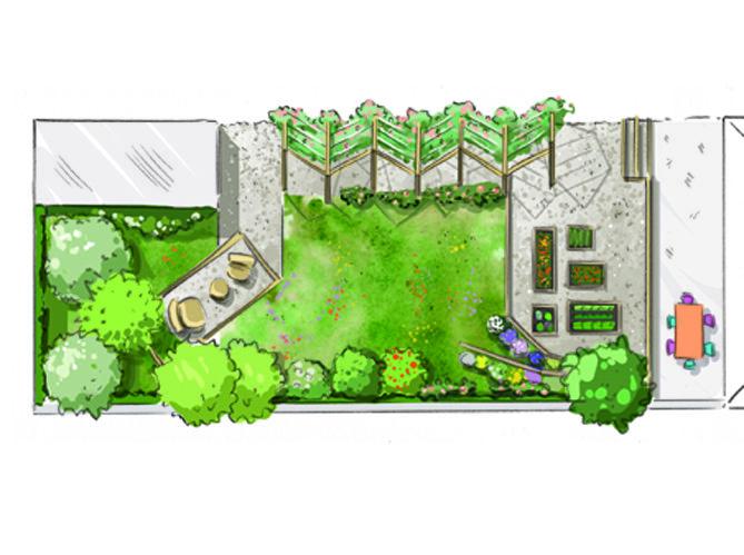 comment am nager un petit jardin tout en longueur longueur l g re et vivre. Black Bedroom Furniture Sets. Home Design Ideas