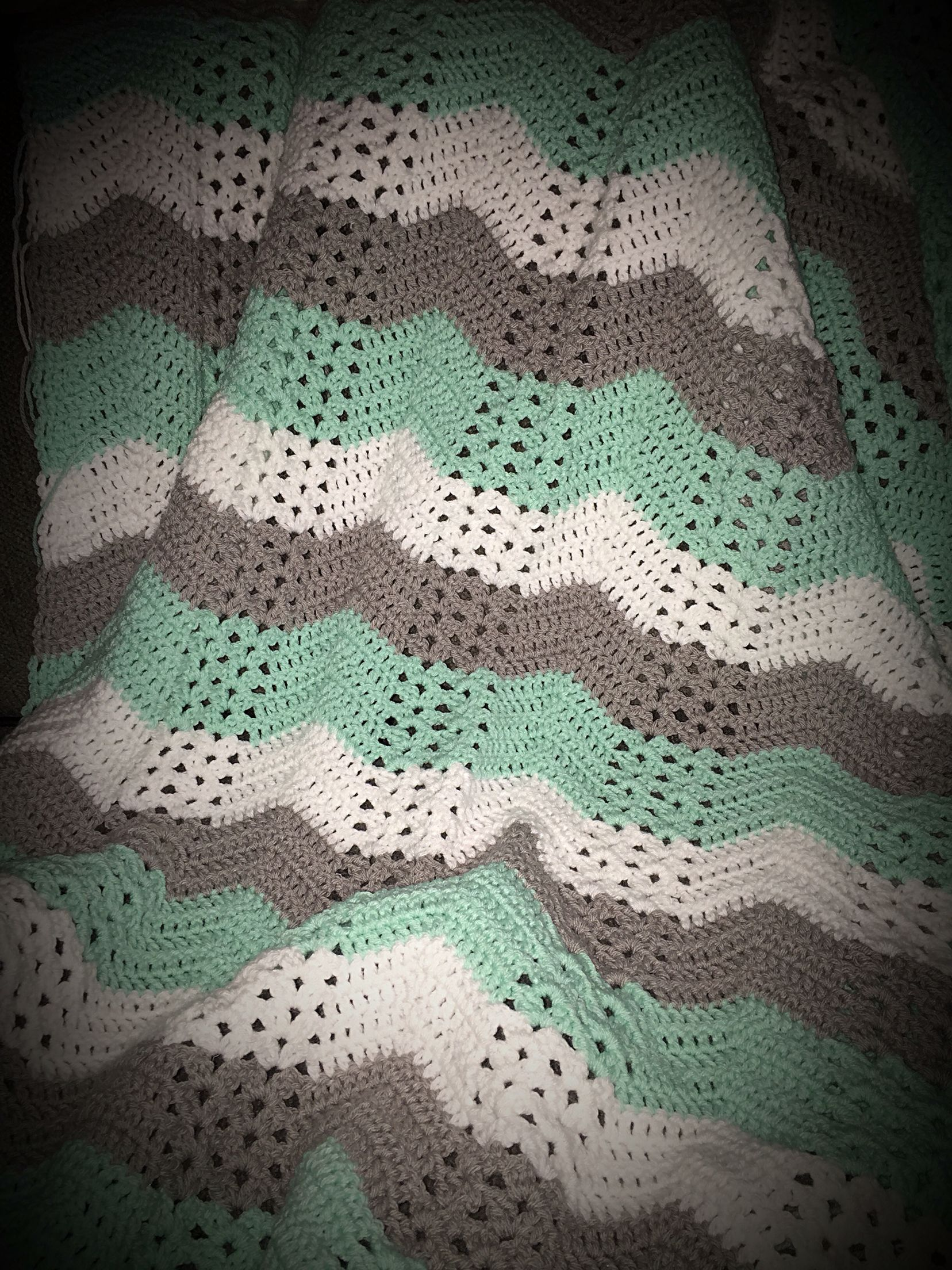 Green Baby Boy Room Ideas: Mint Green, White And Grey Crochet Baby Blanket