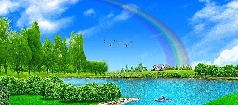 السماء الزرقاء منظر قوس قزح Rainbow Landscape Sky