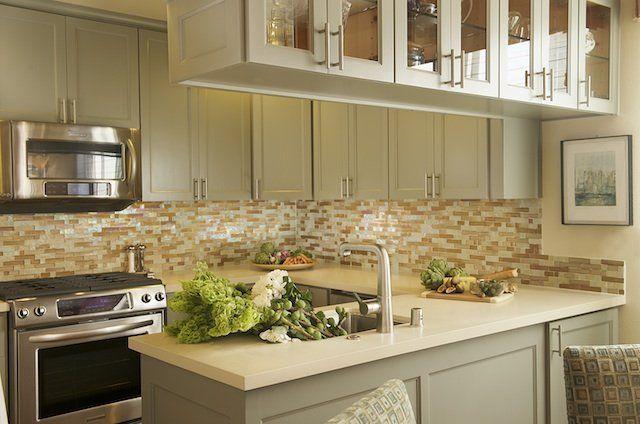 Modern Kitchen Design With Gray Green Kitchen Cabinets