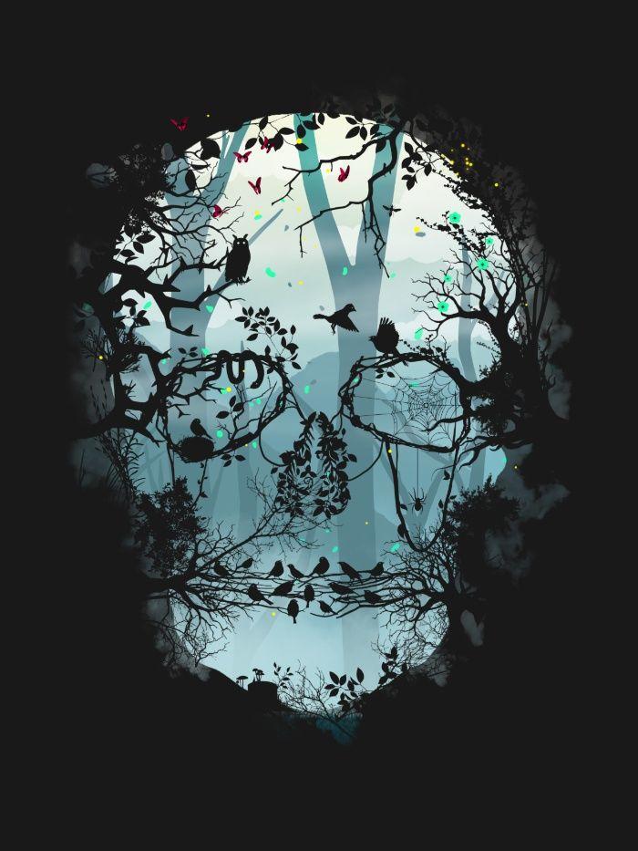 Dark Forest Skull Art Print by Sitchko Igor
