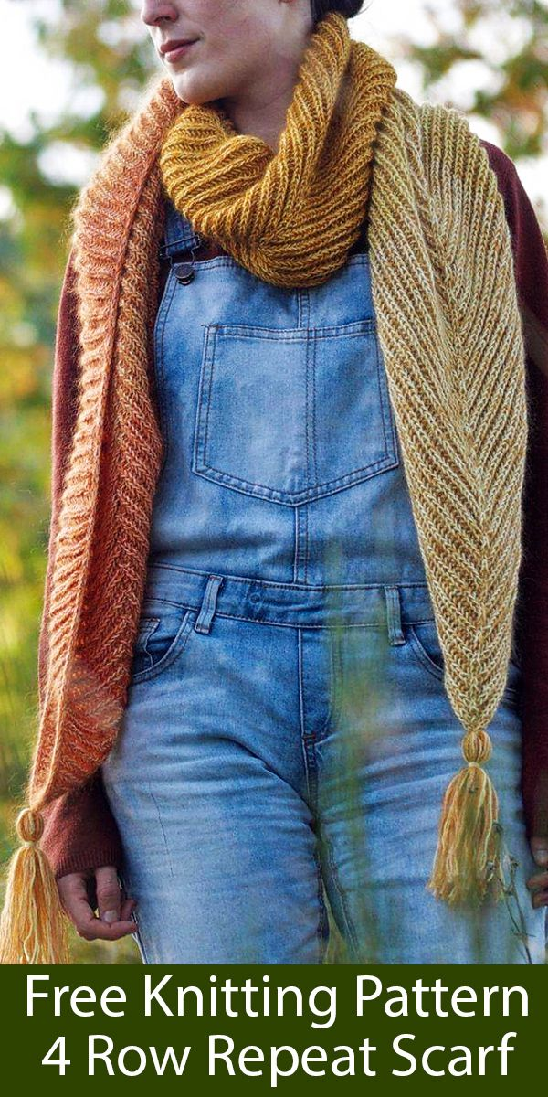 Photo of Free Knitting Pattern for 4 Row Repeat Scarf With Pointed Ends
