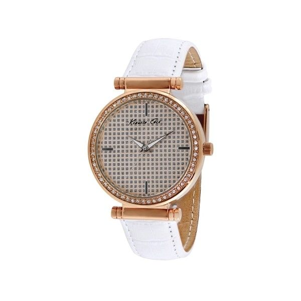 Kenneth Cole New York Rose Gold Watch with Crystal Bezel and Leather Strap $95