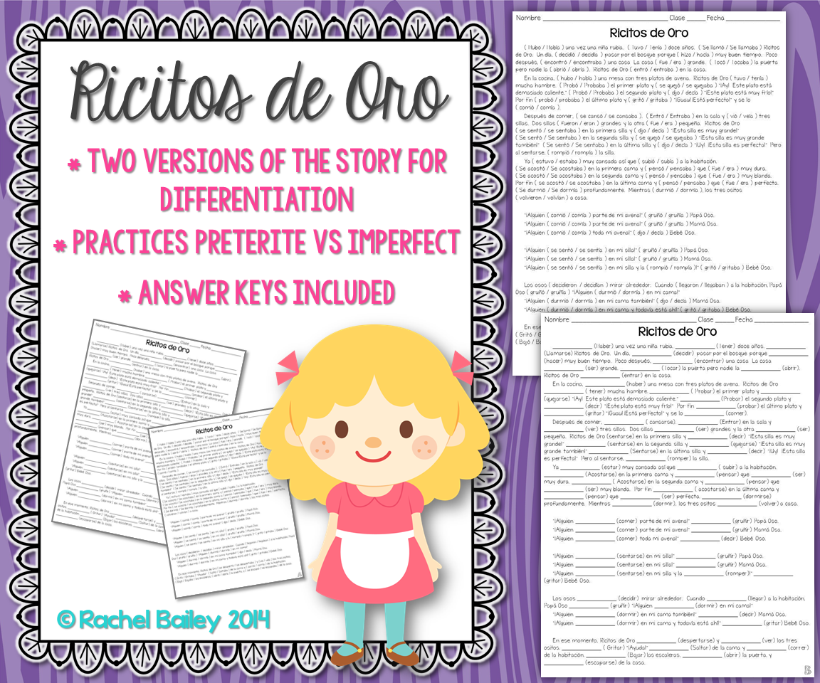 Preterite Vs Imperfect Story Worksheet Ricitos De Oro