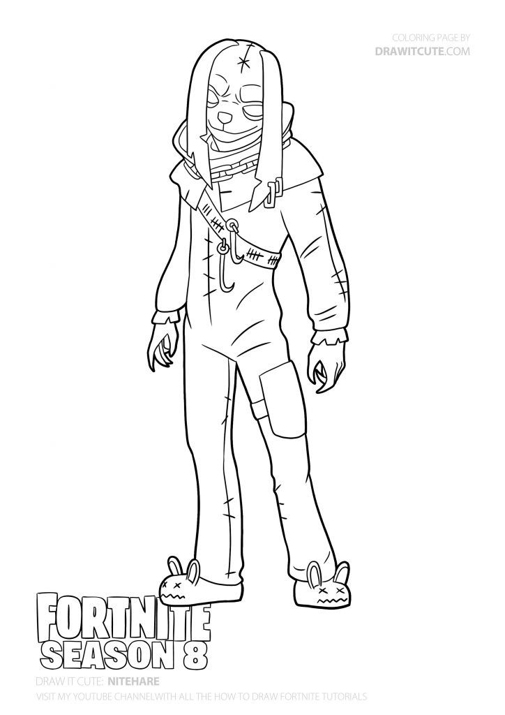 Nitehare Skin Fortnite Coloring Pages Pixel Drawing Coloring Pages For Boys