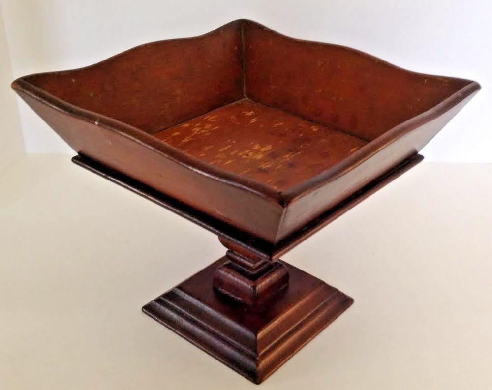 Vintage Mid Century Wood Wooden Fruit Bowl Pedestal Square ...