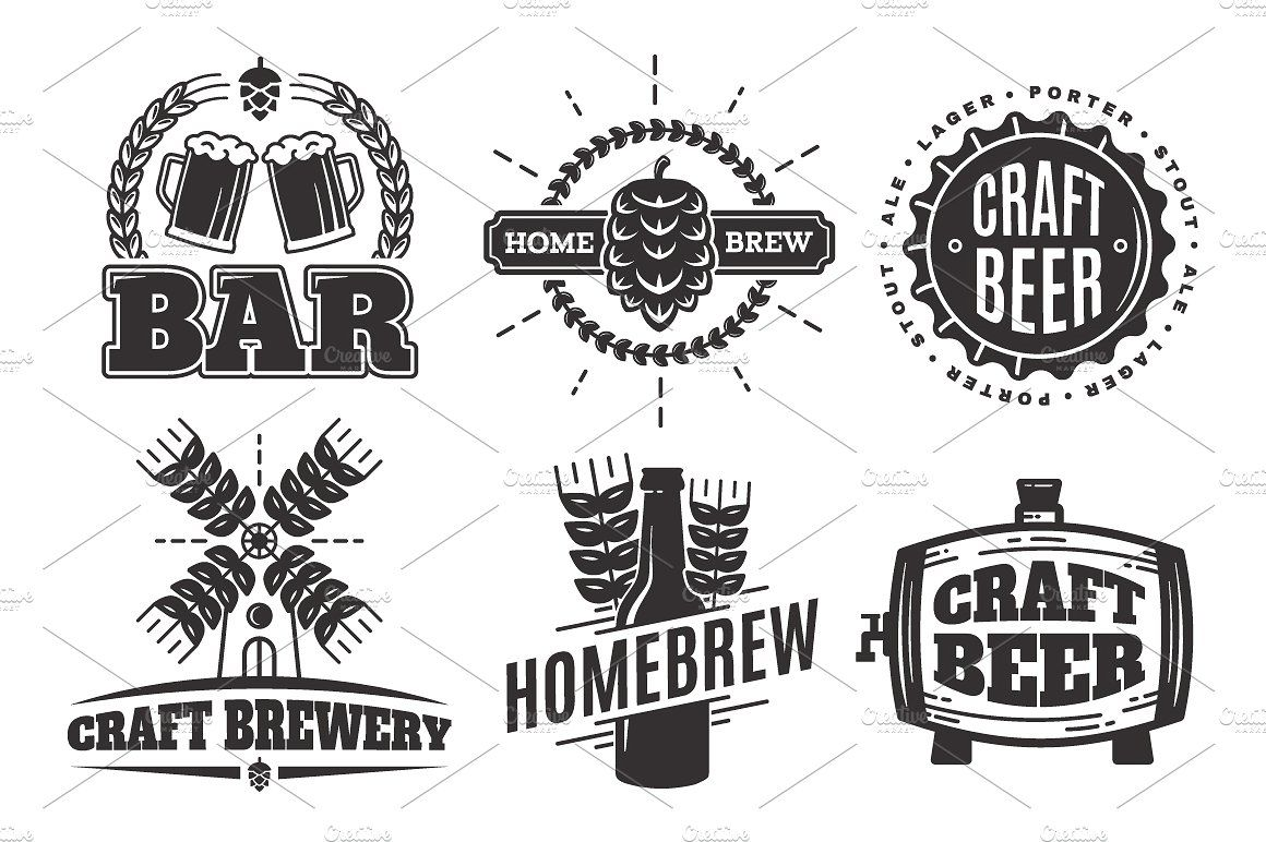 Craft Beer Vintage Logos Beer Logos Bar Vector Craft Beer Logo
