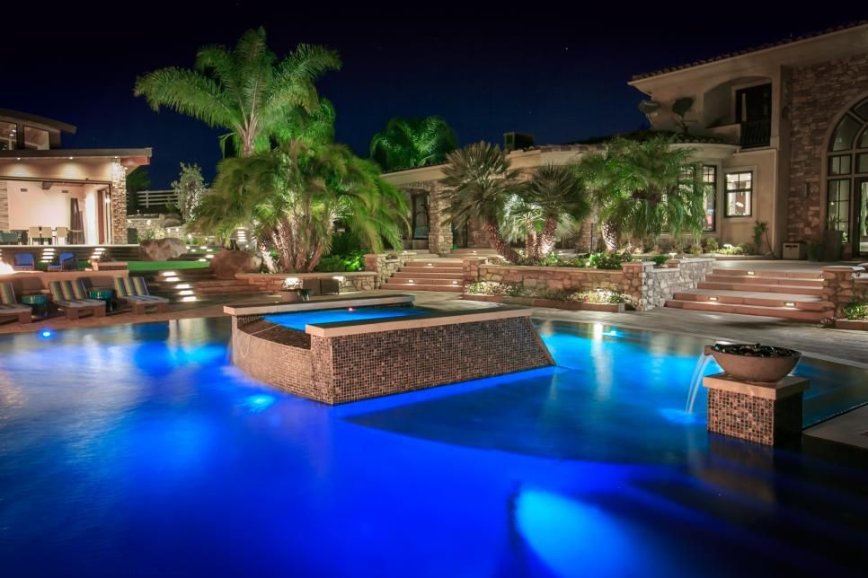Tropical Pool Oasis With Water Features and Fire Pit ...