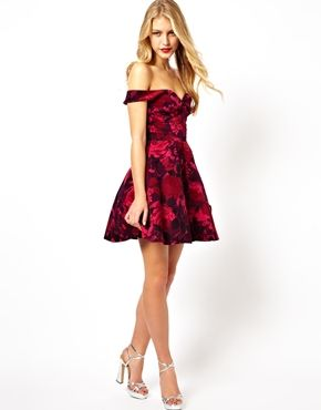 40b915cbda this would be cute on you ASOS Velvet Floral Bardot Skater Dress  asos.com