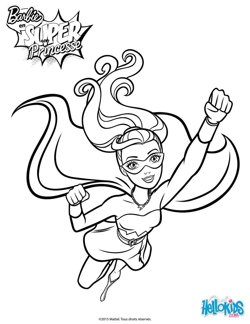 Barbie super power coloring page more barbie super princess on helokids com