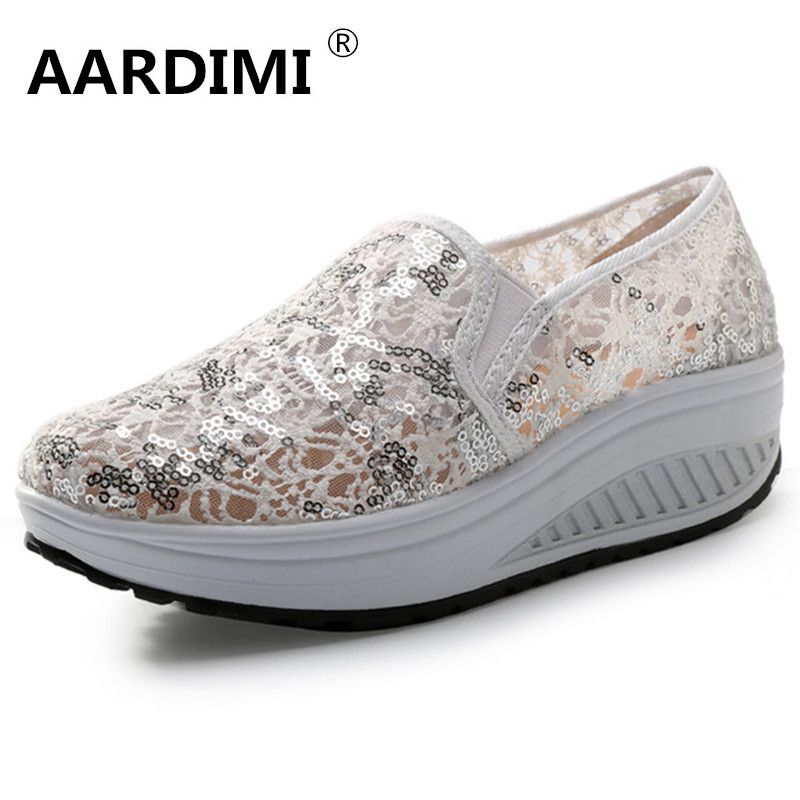 New arrival spring Lace breathable women air platform shoes fashion slip on height  increasing women creepers women s loafers dae3fb113d1c