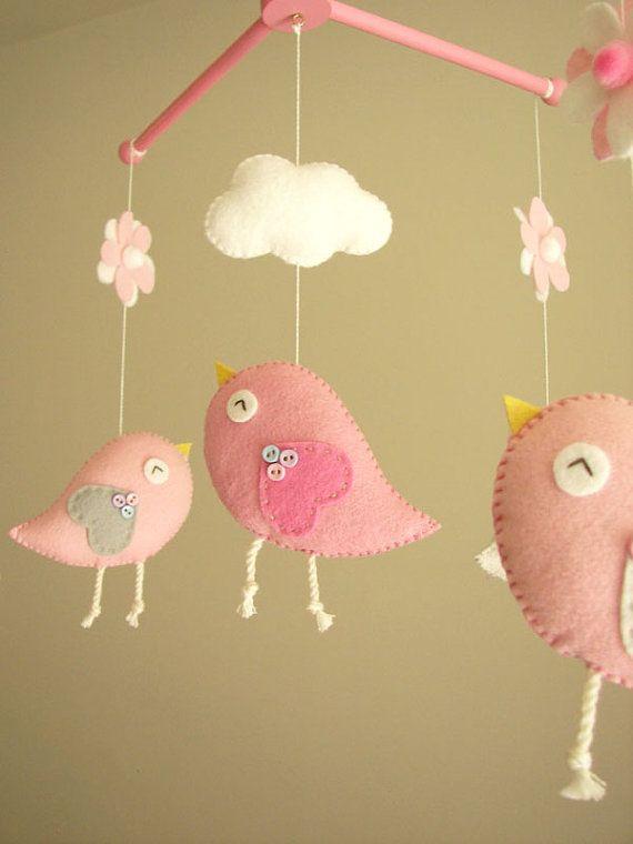 Baby Crib Mobile Bird Felt Nursery By Feltnjoy