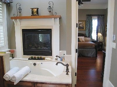 Double Sided Fireplace Between Master Bathroom And Bedroom