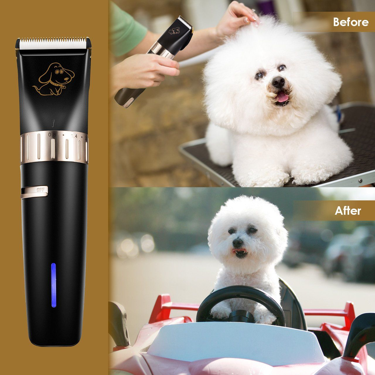 Omorc Professional Dog Clippers Low Noise Rechargeable Cordless