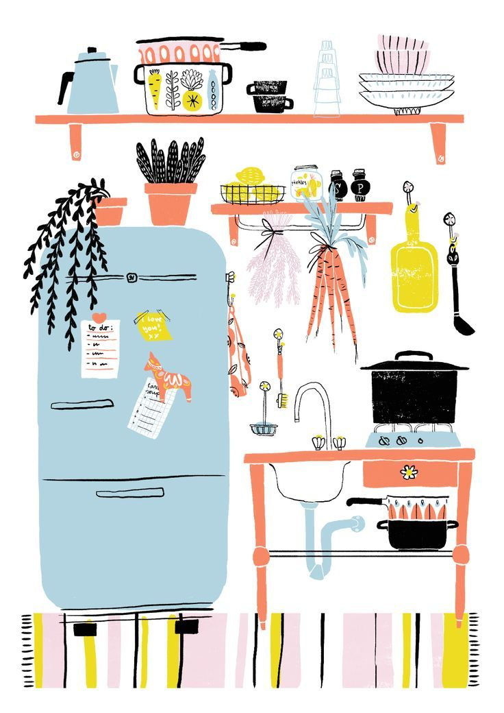 Cute And Colorful Kitchen Illustration