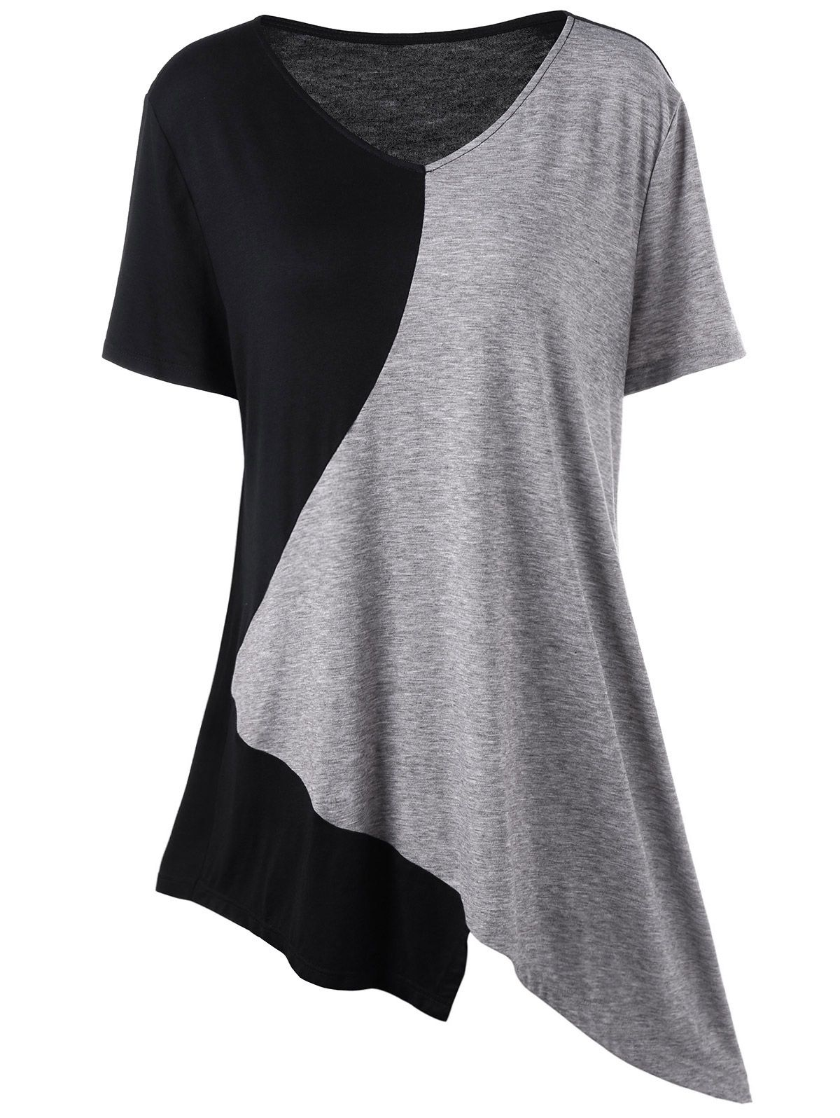 368febf078eb3c Asymmetrical Color Block Plus Size T-Shirt | Tees & T-Shirts in 2019 ...