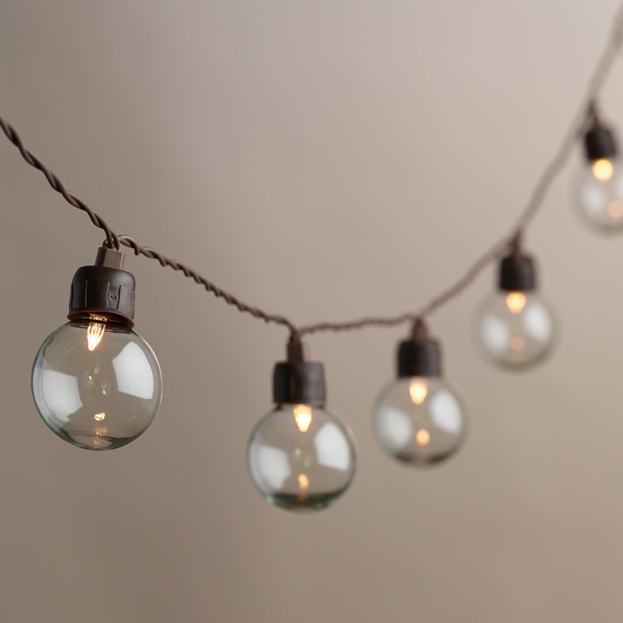 Clear Orb Solar LED Bulb String Lights