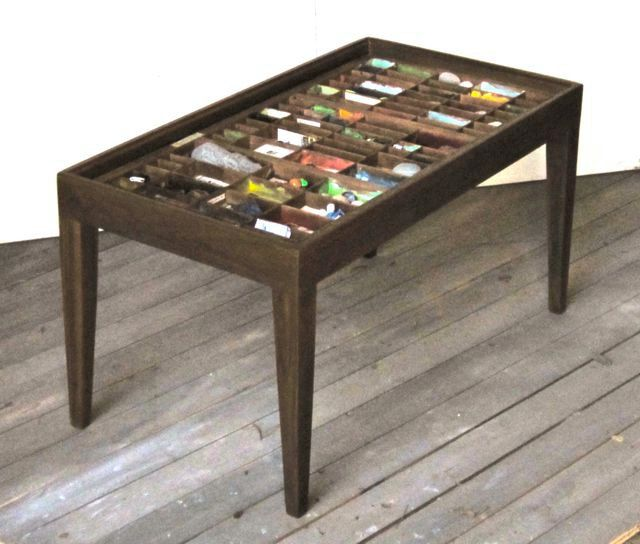 custom table for a printer's drawer collection. $390.00, via etsy