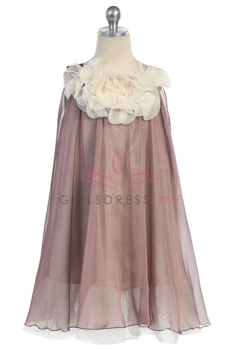 Mocha chiffon short flower girl dress kmc on