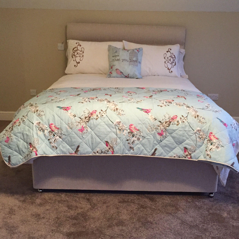 Nautical Bedding Dunelm: Duck Egg Beautiful Birds Bedspread & Cushion Www.dunelm