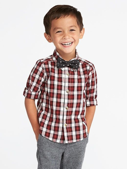 9a776829f2c3 Old Navy Plaid Dress Shirt & Bow-Tie Set for Toddler Boys | Products ...