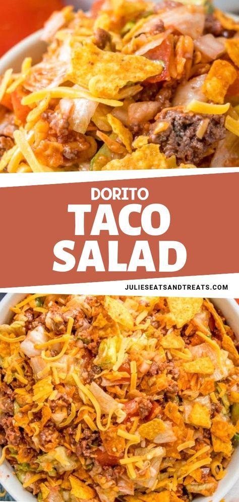 The perfect Taco Salad for a potluck or party! #dorritocasserolehamburger