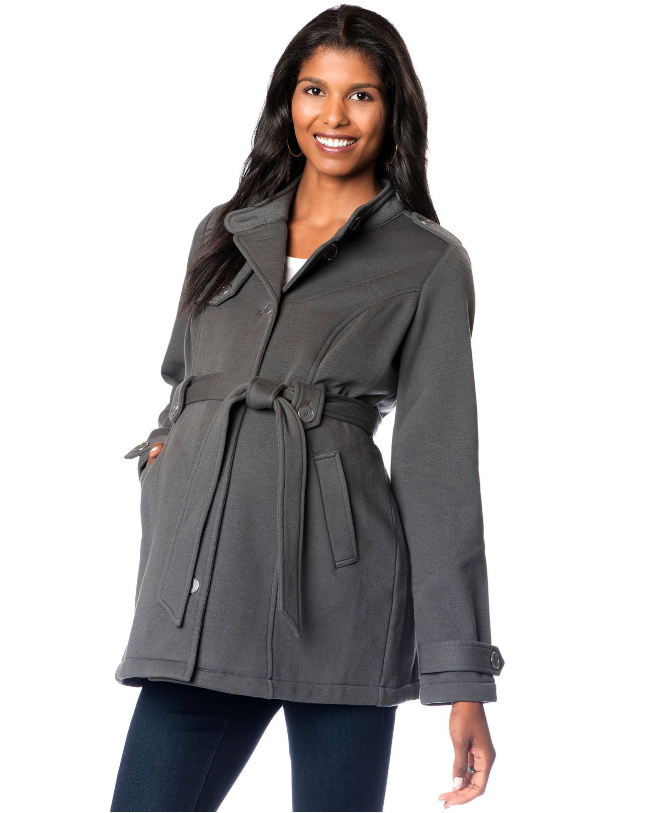 7e0de5e22cad6 Motherhood Maternity Button-Front Belted Jacket - Maternity - Women -  Macy's #maternity #coats #jackets #winter #bargains