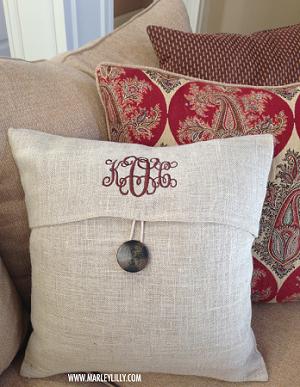 monogrammed tan burlap pillow cover
