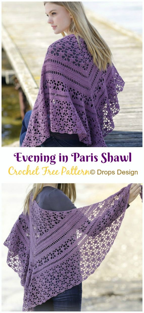 Evening in Paris Shawl Crochet Free Pattern - Crochet & Knitting