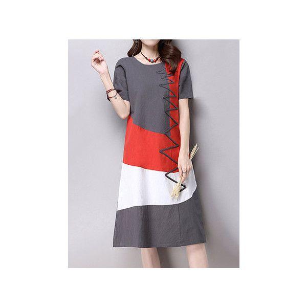 Elegant Women Short Sleeve Contrast Color Cotton Linen Dress ❤ liked on Polyvore featuring dresses, summer dresses, short sleeve summer dresses, cotton linen dresses, short sleeve dress and short-sleeve dresses