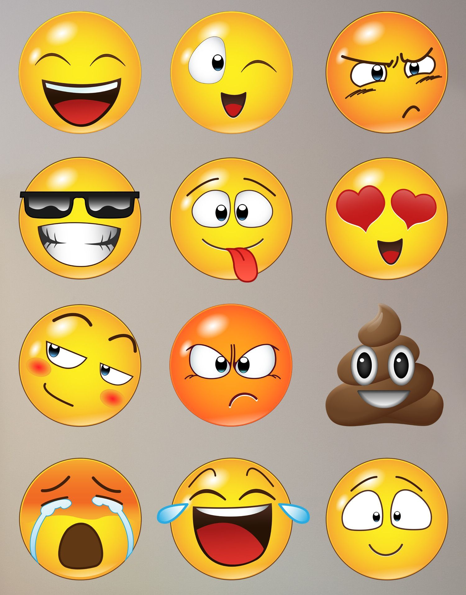 77baff5484 Decal #6052 - Emoji wall decals include all 12 Emoji faces as shown. - Emoji  faces can be positioned individually. - Simply peel and stick.