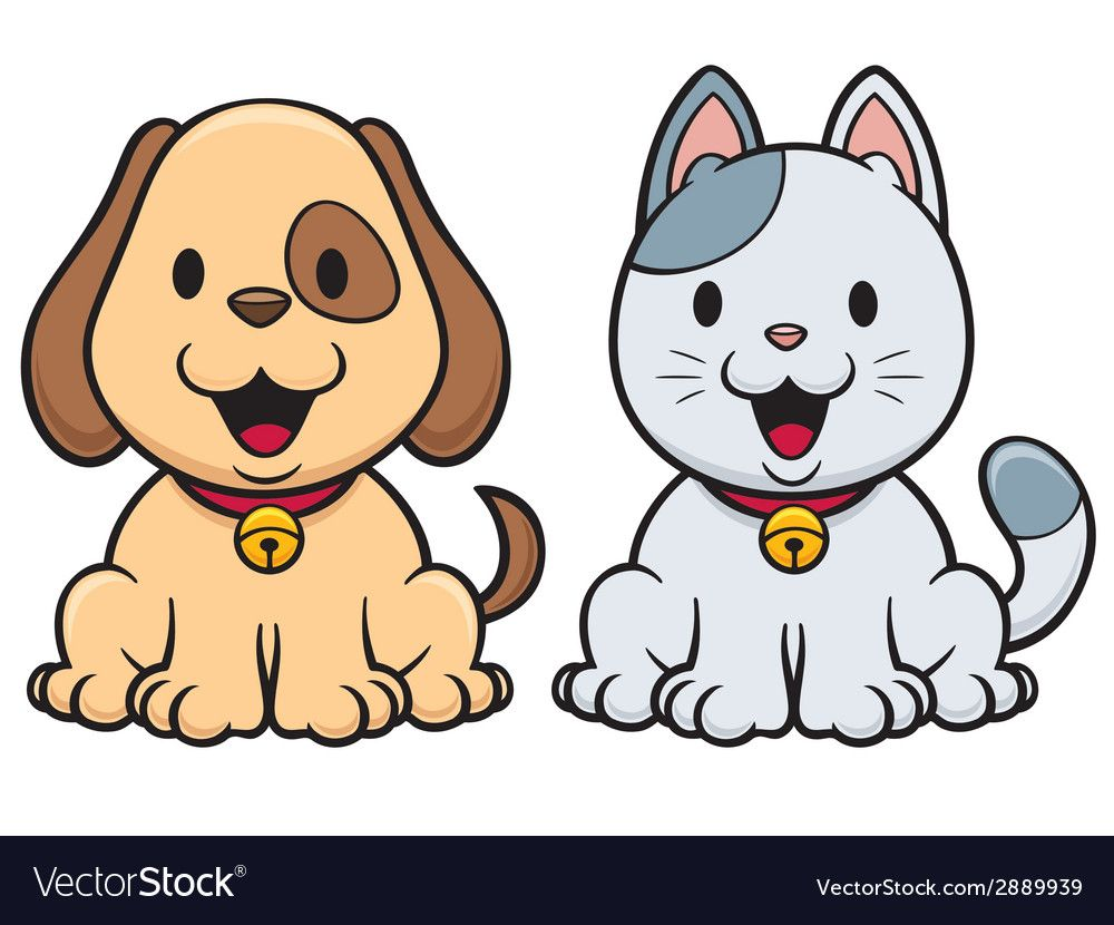 Vector Illustration Of Cartoon Cat And Dog Download A Free Preview Or High Quality Adobe Illustrator Ai Cute Dog Cartoon Cute Dog Drawing Cat And Dog Drawing