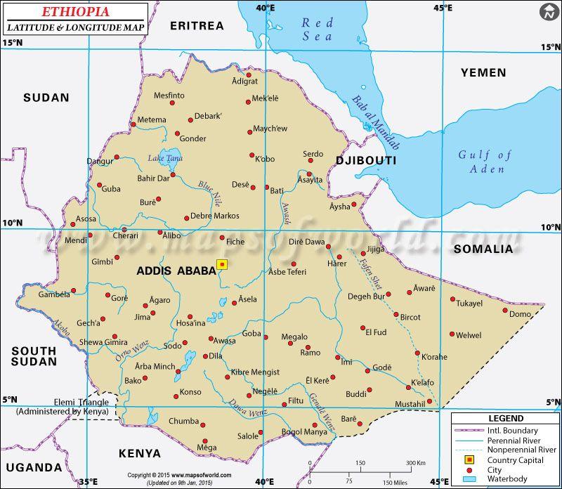 Ethiopia latitude and longitude map latitude longitude maps ethiopia latitude and longitude map gumiabroncs Images