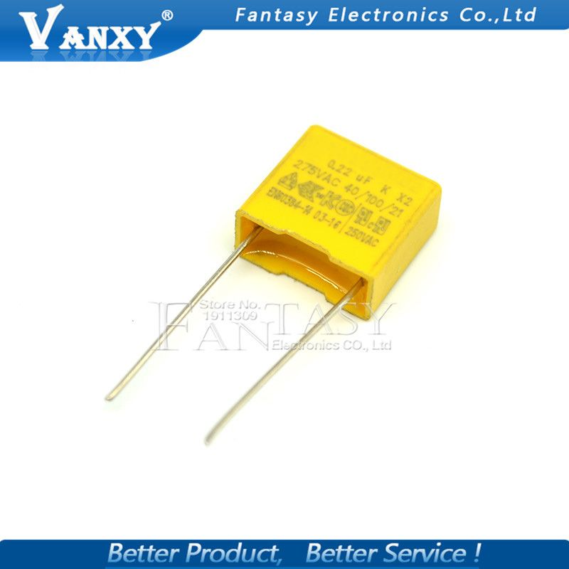 20pcs 220nf Capacitor X2 Capacitor 275vac Pitch 275v 10mm X2 Polypropylene Film Capacitor 0 22uf Affiliate Pitch Film 10mm