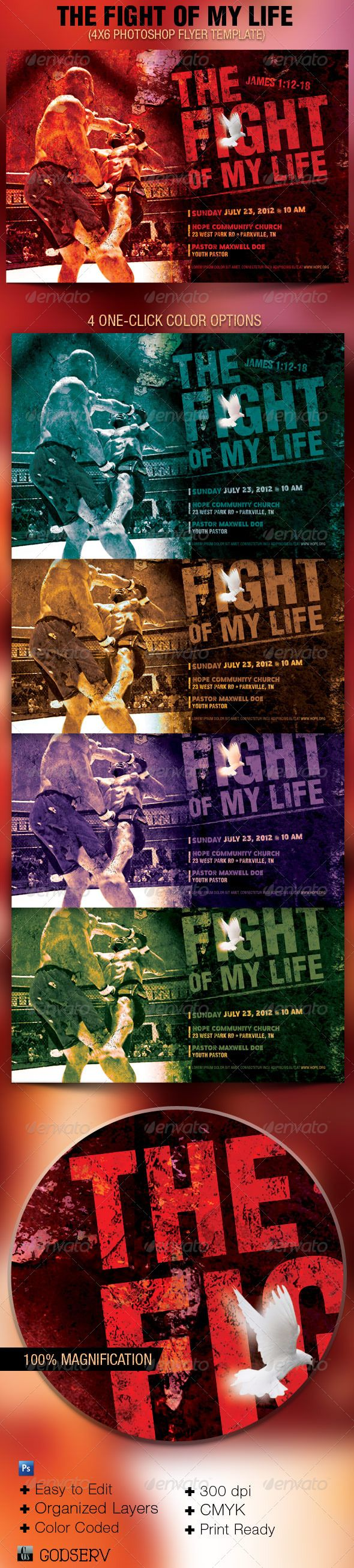 the fight of my life church flyer template