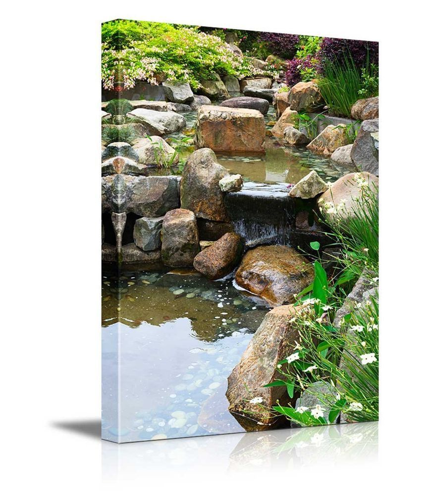 Details about canvas prints relaxing pond with waterfall