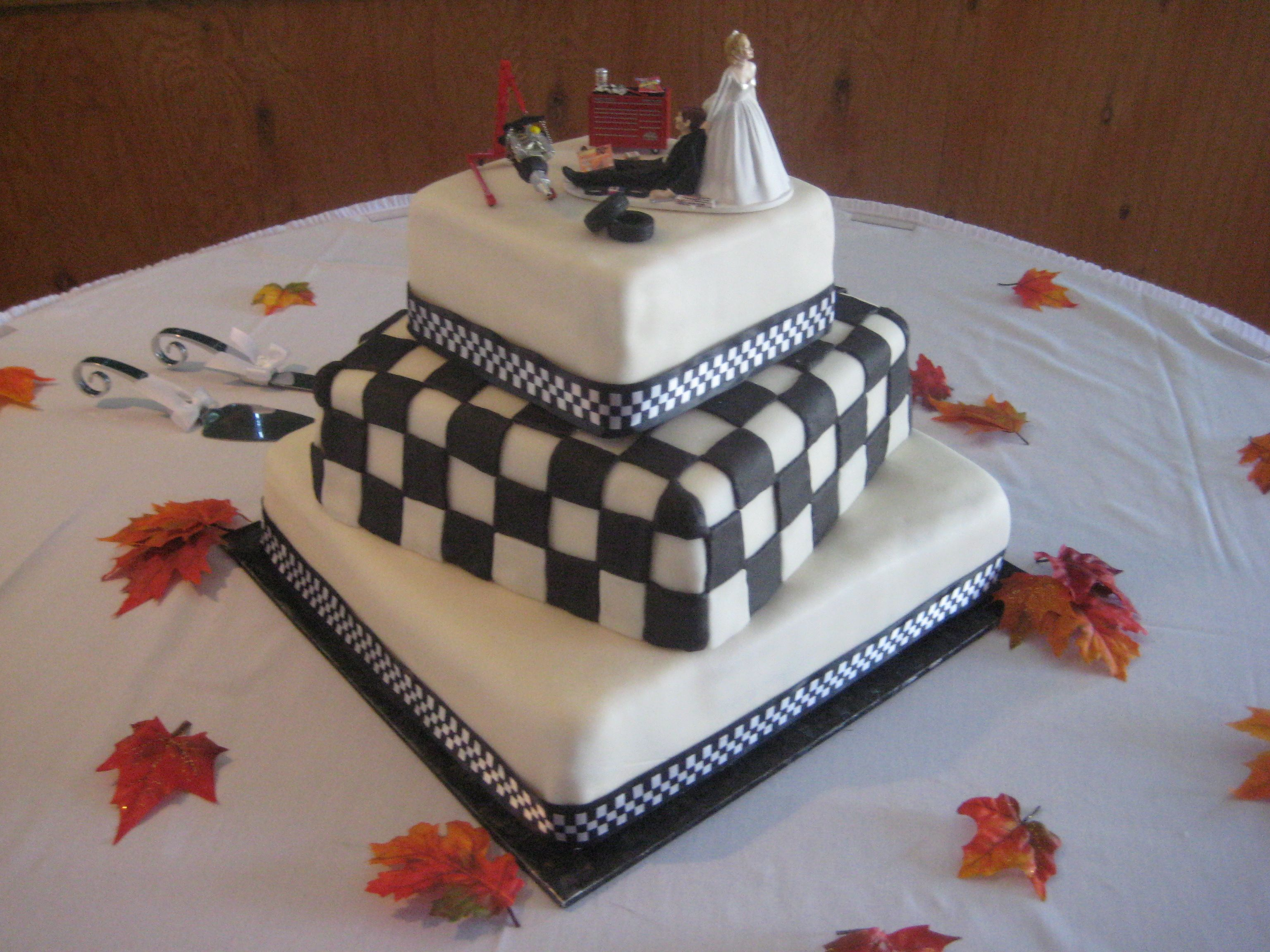 Race car theme wedding cake She wanted the checkered flag