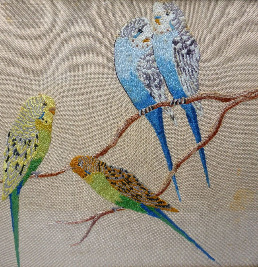 Vintage Embroidered Budgies