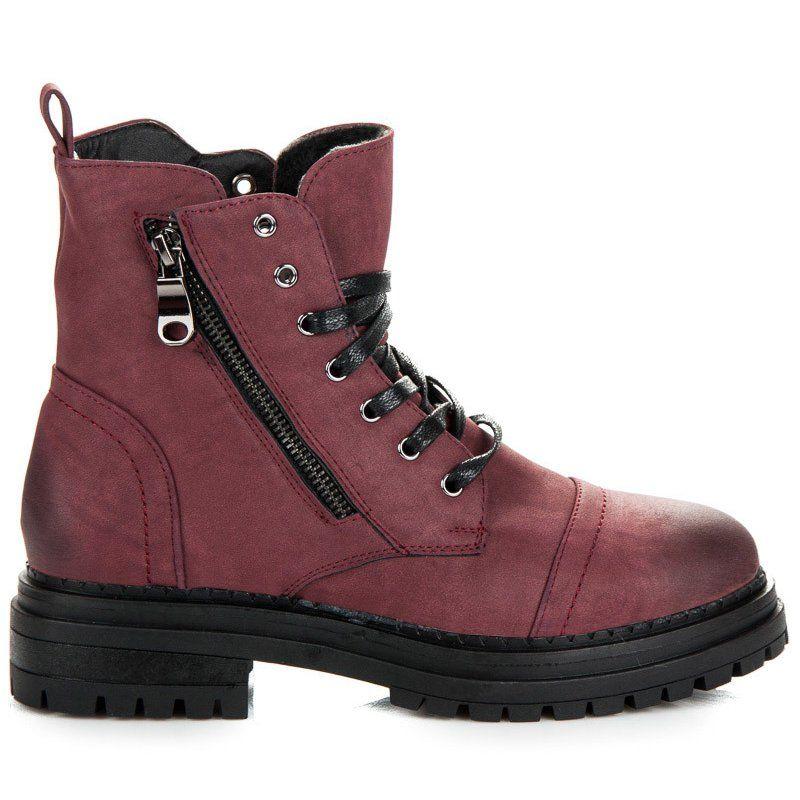 Botki Damskie Vices Vices Czerwone Bordowe Workery Na Niskim Obcasie Boots Combat Boots Army Boot