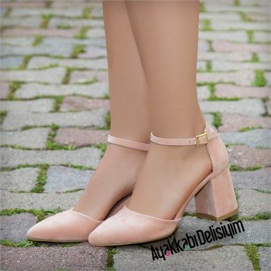 Zikade Süet Pudra Kısa Topuklu Ayakkabı