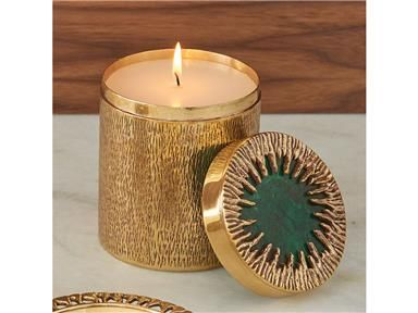 Global Views Crimped Box-Brass/Malachite-Large- With Poured Candle 9.92640