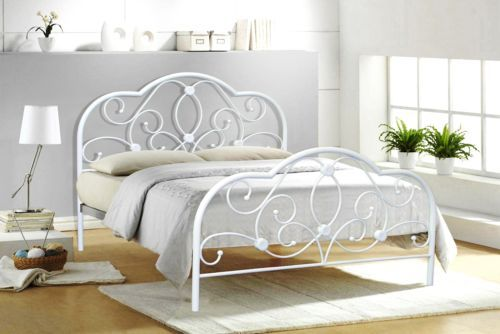 Best Alexis Double 4Ft6 4Ft White Metal Bed Frame Bedstead 640 x 480