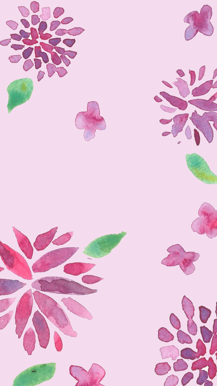 Pink And Purple Watercolor Floral Iphone Background Flower