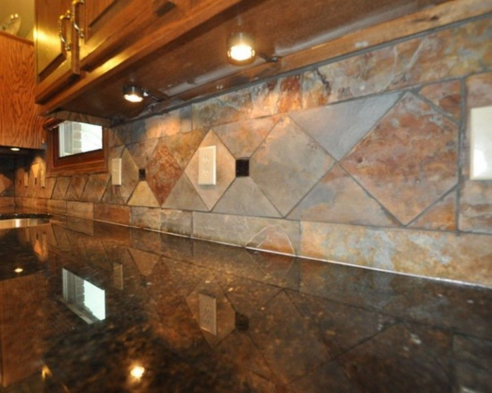 Look At Up To Date Beautiful Slate Backsplash Ideas Slate Tile Backsplash  With Granite Countertop Remodeling Ideas In A Number Of Photographs From Ca.