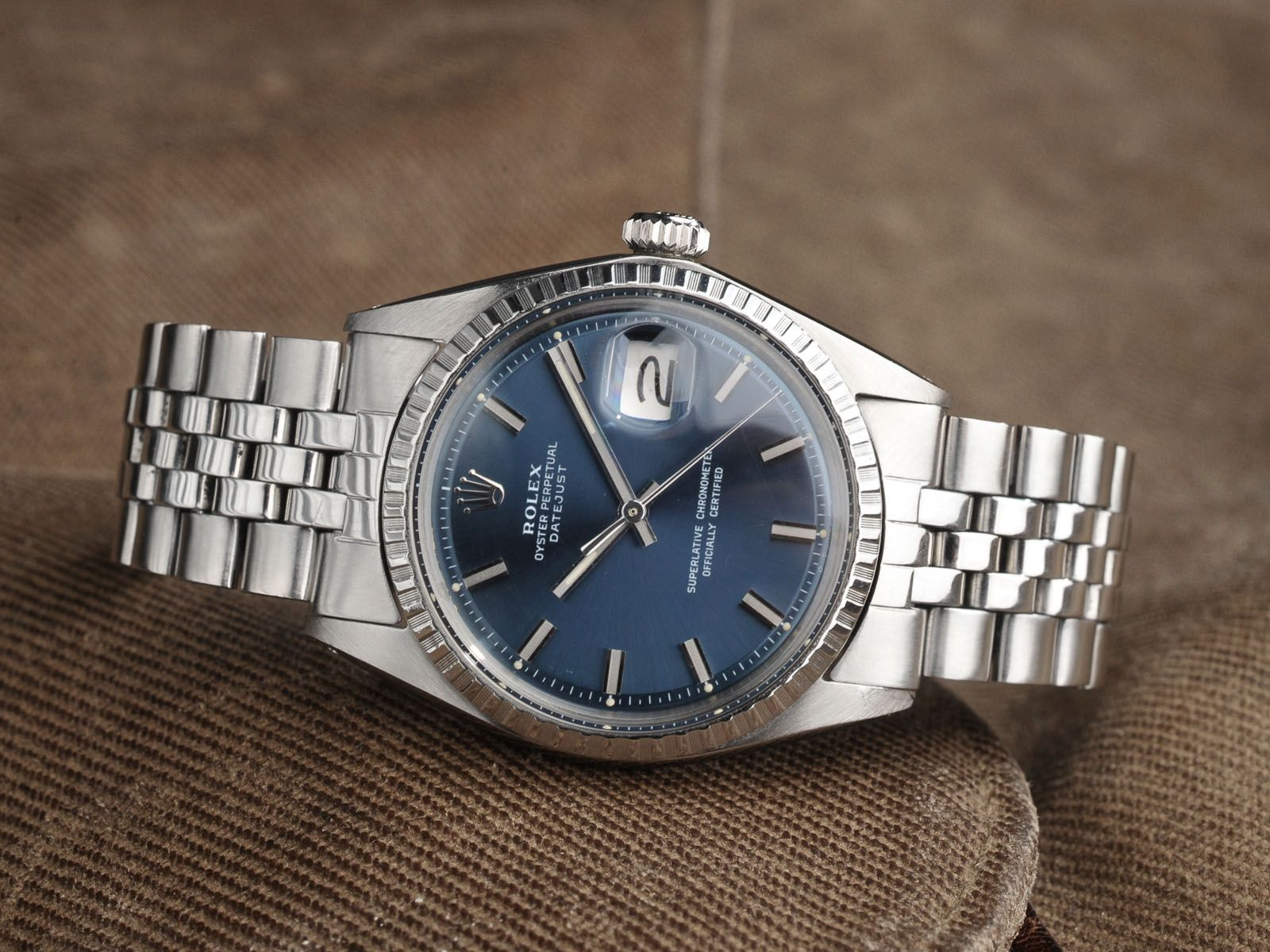 An Amazing Vintage Rolex 1603 Datejust With Blue Sigma Dial And Wide