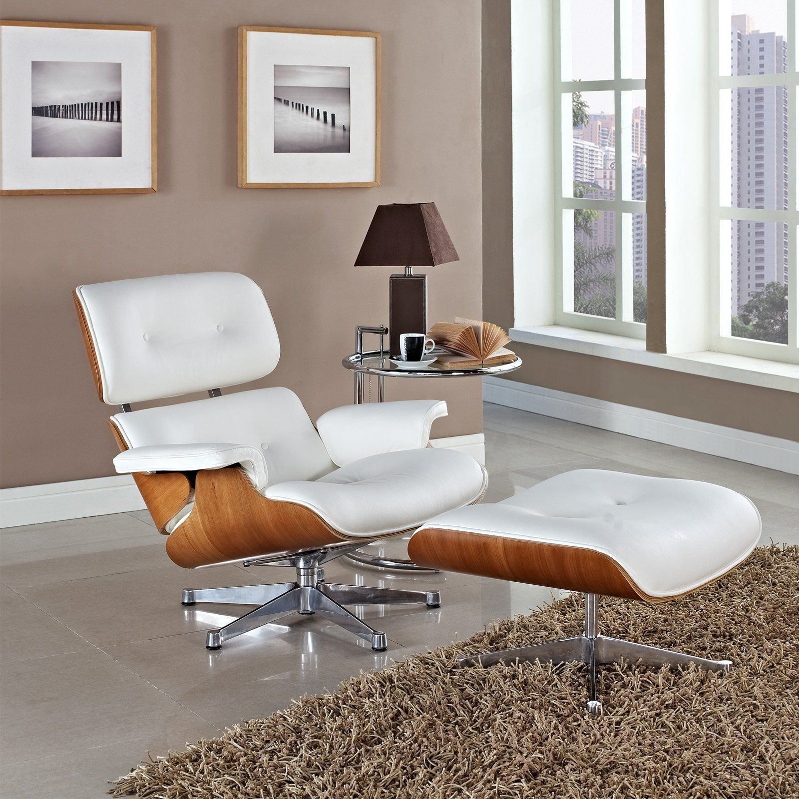 Modway Eaze Leather Lounge Chair White Natural www