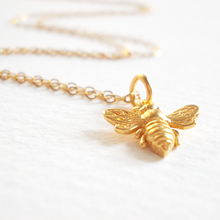 Gold Bumble Bee necklace by Lily Mo Jewellery