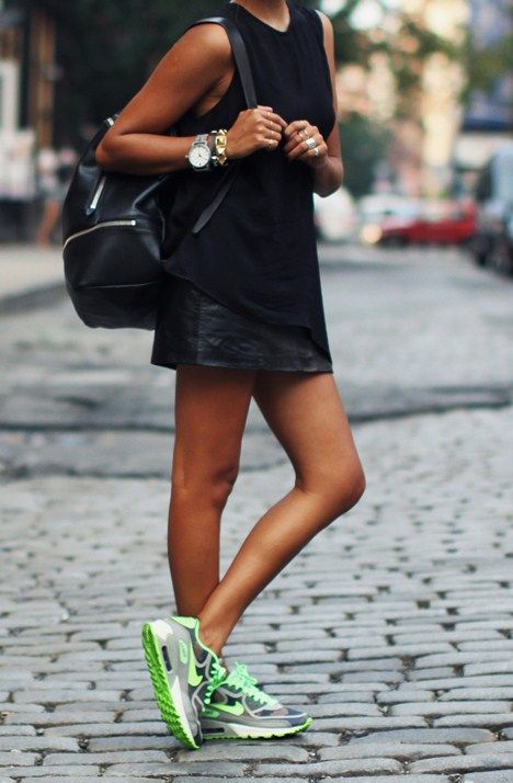 f7f41029390da Show some leg with a black leather mini skirt and sneakers. Add a trendy  backpack and oversized watch to further play up the outfit s sporty vibe.
