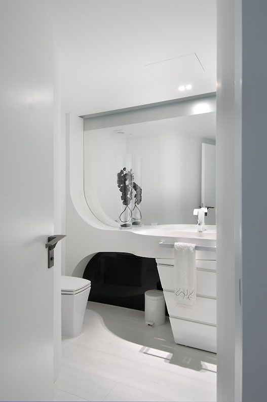 Cool White Bathroom Ideas In Futuristic Apartment Design And Remodel By A  Cero Architects Foto Wallpaper Cool White Bathroom Ideas In Futuristic  Apartment ...